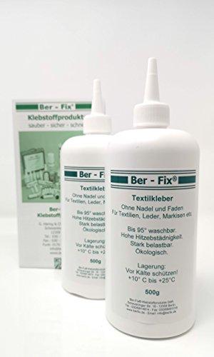 Ber-Fix Textilkleber Kochfest 95° Bügelfester 180° ohne Anbügeln (1000ml) 2x500ml
