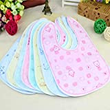 #7: BRANDONN Newborn Multicolor Waterproof Cotton Bibs-(Pack of 6 ; Fast Dry Bibs)