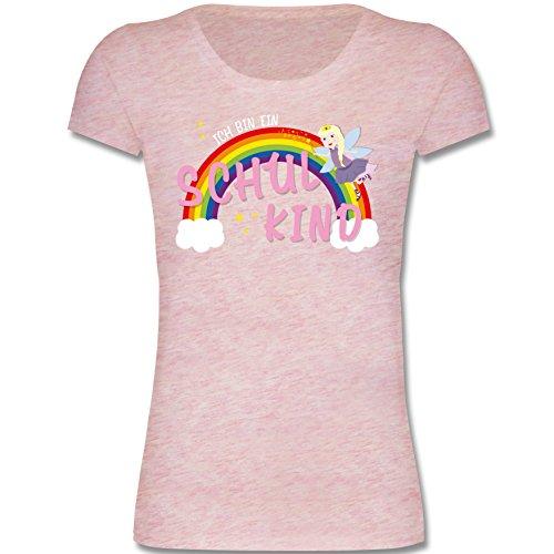 Shirtracer Einschulung - Ich bin ein Schulkind Fee-Prinzessin - Bio T-Shirt für Mädchen Erstklässler Kinder leicht tailliert (5-6 Jahre 110-116 cm, rosa meliert) (Leichte T-shirt Kinder 6)