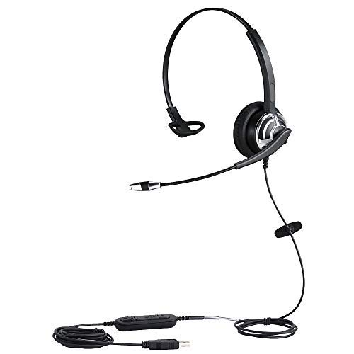 MKJ USB Headset Wired PC Headset mit Noise Cancelling Mikrofon für Unified Kommunikation Skype Chat Online nördlichsten Punkt Conference Calls Gaming Usb Monaural Pc Headset