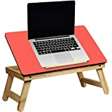 MOM'S GADGETS Laptop Table/Multipurpose Table/Fordable Table/Study Table/Reading Table/Eating Table/Craft-Work Table/Bed Laptop Table/Lappi Table/Wood Table/Portable Laptop Table/ (Color - Red)