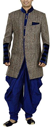 Sargam Nx Men's Jute Sherwani (Blue, 40)