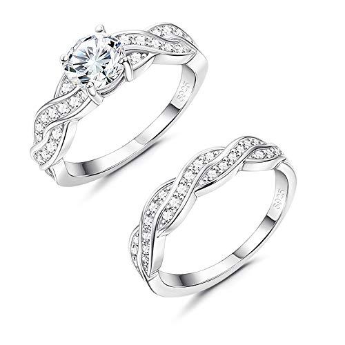 YADOCA 925 Sterling Silber Braut Ring Set für Frauen Damen CZ Eternity Engagement Ehering Ring Infinity Love Promise Ring Größe 4-9 (5 Damen-ehering Größe)