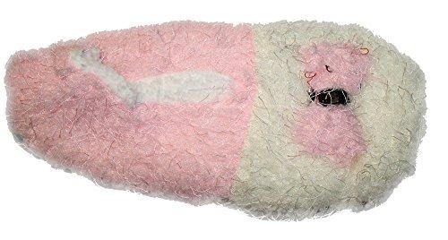Plüsch Kuschel Hausschuhe Ballerina mit Schleife Gr.35-39 Rosa/Cremeweiß