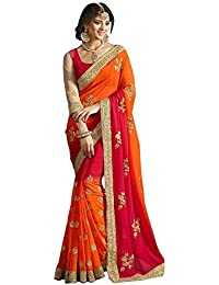 Laxmi Fashion Women's Georgette Saree With Blouse Piece (Mt-Saree-2156-1-Red)