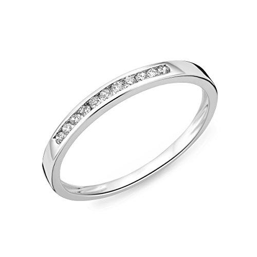 Miore Ring Damen Weißgold Diamant Hochzeitsband 14KT (585) mit Diamant Brillanten 0.10 ct