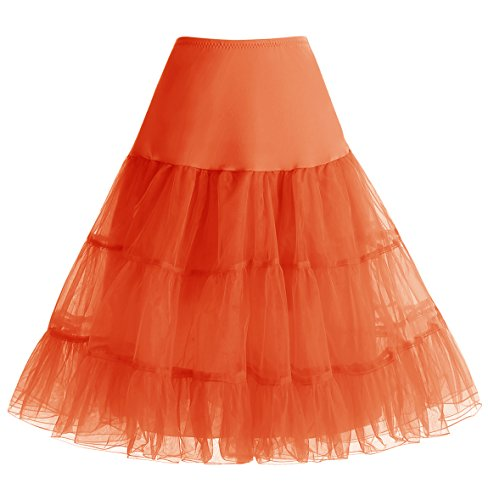 HomRain 1950 Petticoat Vintage Retro Unterrock Reifrock Underskirt für Rockabilly Kleid Orange L - Retro Mini Shorts