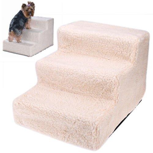 Treppe für kleine Hunde Katzen Beige Teppich Bett Couch Sicherheit Haustier Leiterstufen