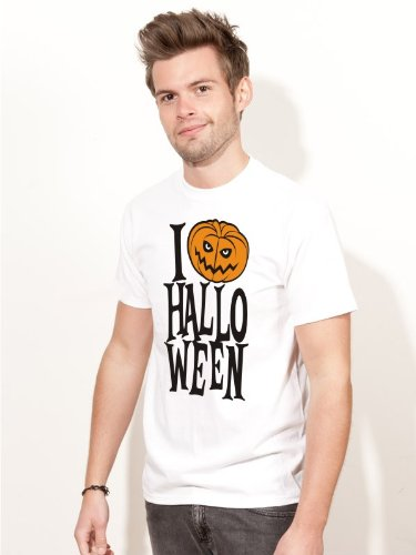 Herren T-Shirt I LOVE HALLOWEEN Shirt H2 weiss - Größe - Van Halloween-kostüm Weiße