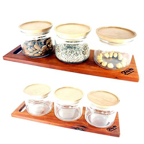Exklusive Müsli Bar mit 3 Gläsern zur Aufbewahrung • Cerealien Spender