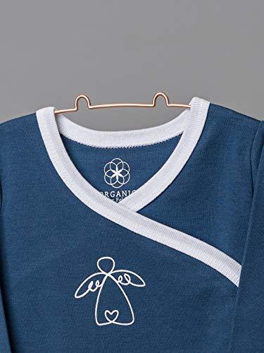 Organic by Feldman Unisex Baby Body Langarm Wickelbody aus Bio Baumwolle, GOTS Zertifiziert, Schutzengel Ozeanblau, (50/56) - 2