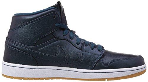 Nike Air Jordan 1 Mid Nouveau Herren Baseballschuhe Blau (Spc Bl/Spc Bl-White-Gm Lght Br)