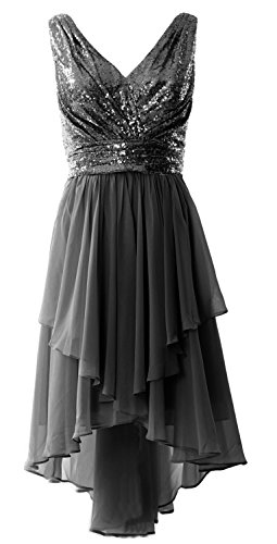 MACloth Women Straps V Neck Sequin Chiffon High Low Prom Dress Formal Party Gown Black
