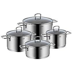 Silit Alicante Koch-/ Braten-/ Fleischtopfset, 4-teilig, Edelstahl rostfrei, 18/10 poliert, Glasdeckel, Induktion spülmaschinengeeignet
