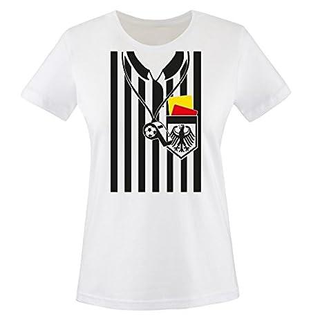 Comedy Shirts - SCHIEDSRICHTER KOSTÜM - Damen T-Shirt - Weiss / Bunt Gr. M (Schiedsrichter T-shirts Kostüm)