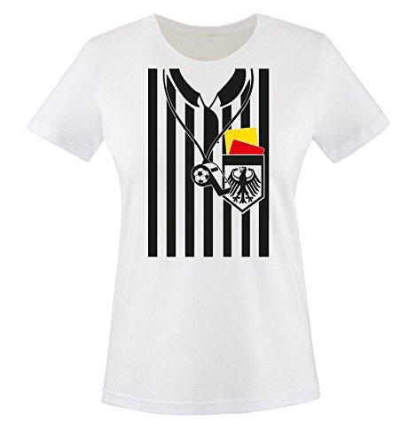 Comedy Shirts - SCHIEDSRICHTER KOSTÜM - Damen T-Shirt - Weiss / Bunt Gr. S (Schiedsrichter T Shirts Kostüm)