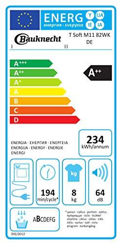 Bauknecht T Soft M11 82WK DE Wärmepumpentrockner/A++/8 kg/ActiveCare-Technologie/Leichte und schnelle Reinigung dank EasyCleaning-Filter/Wolle-Programm/Stratzeitvorwahl