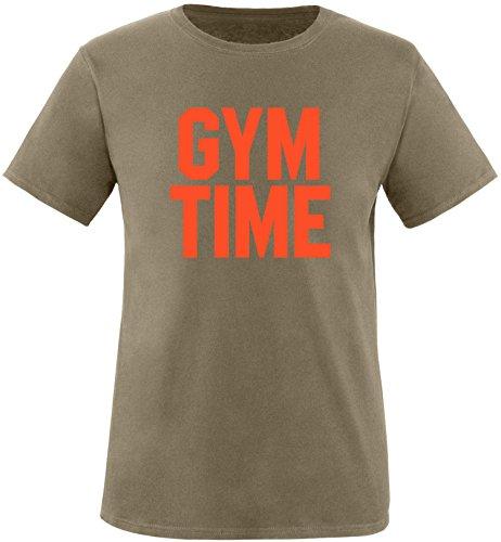 EZYshirt® Gym Time Herren Rundhals T-Shirt Oliv/Orange