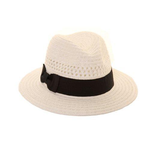 Hawkins Blanc d'été Chapeau de Paille Pliable Panama Fedora Chapeau avec Bande - Blanc - 59