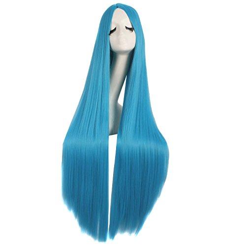 MapofBeauty 40 Zoll/100cm Schnitzen Lange Lockige Cosplay Anime Kostüm Party Perücke (Cyan Blau) (Kostüm Blaue Perücken)