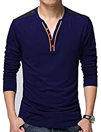 Seven Rocks Men's Cotton Contrast Buttoned Tshirt(T17-NB_Navy_Blue)