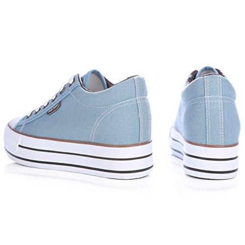 Renben Filles Femmes Classique Plate-forme Toile Baskets Mode Lacer Espadrille Chaussures compensé-bleu