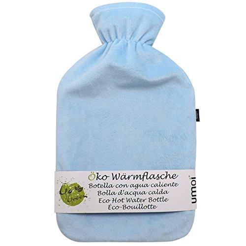 UMOI Öko Wärmflasche 2 Liter mit hochwertigem Supersoft Korean Fleece Bezug BS1970:2012 zertifiziert - Modell 2019 (Hellblau)