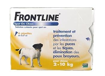 Merial - FRONTLINE SPOT-ON - Petit chien 2-10kg - 6pip - Anti-puce, anti-tique