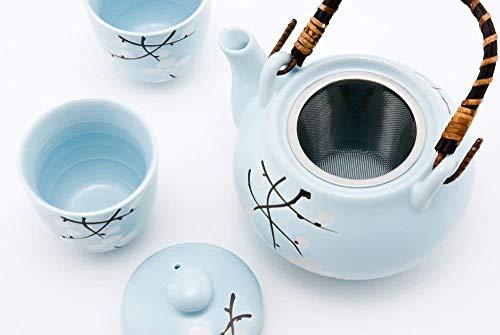 Hinomaru Collection Japanische Kirschblüte Sakura Sky Blau Tee-Set Keramik Teekanne mit Rattan Griff und 2Tee Tassen