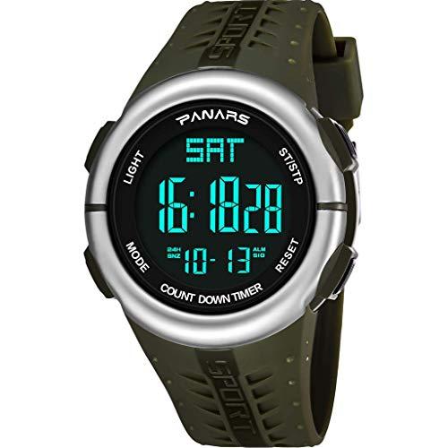 YEARNLY Herren 50m Wasserdicht Armbanduhr Grün Schwarz Digital LED Analog Quarz Uhr Leder Armband Datum Tag Licht Wecker