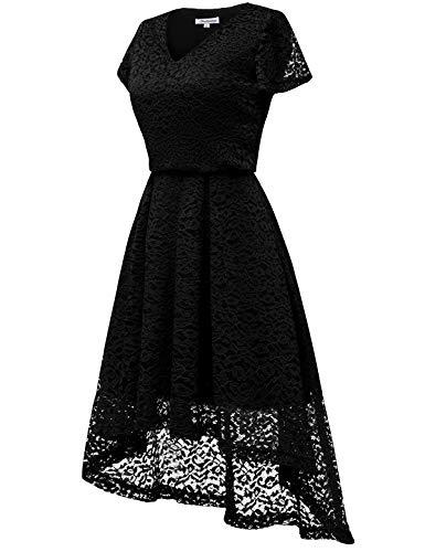 bbonlinedress Damen Elegant V Ausschnitt aus Spitzen Kurzarm Festlich Hochzeit Cocktail Party Abendkleider Black M - 3