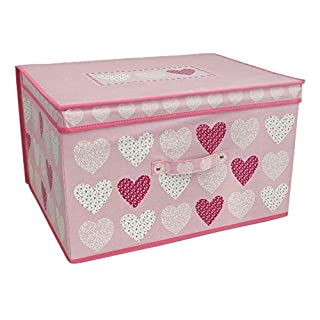 AQS INTERNATIONAL Children Foldable Pop Up Large Blush Hearts Storage Chest Toy Book Box Tidy New