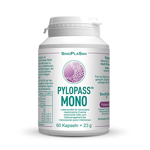 Therapie 60 Kapseln (Pylopass MONO 200mg, 60 Kapseln, zum Diätmanagement bei Helicobacter Pylori Infektionen, hochdosiert, vegan, laktosefrei, glutenfrei, qualitätsüberwacht)