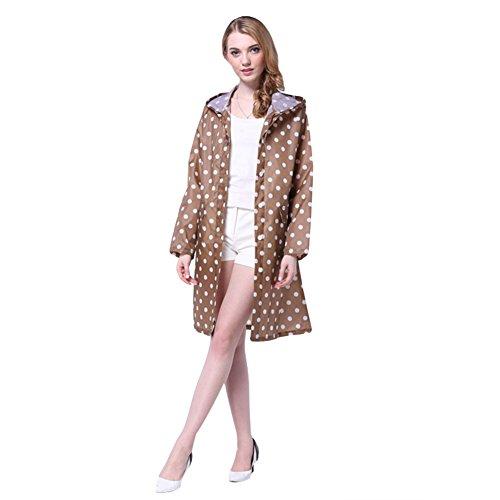 Femme Manteau de pluie Imperméable Poncho-pluie Capuche Cape de Pluie K-way Vêtement de pluie à Pois Kaki