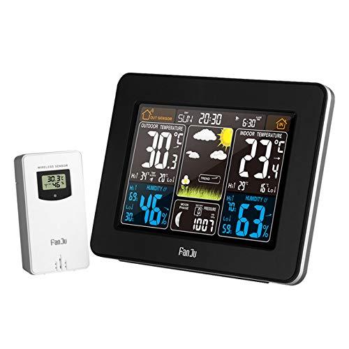 HKANG® Funkwetterstation Funk Mit Außensensor USB-Ladeanschluss Innen- Außentemperatur Und Luftfeuchtigkeit Uhr Mondphase Uhren Mit Thermometer Wecker,Black