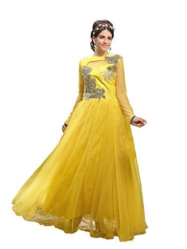 Blissta Yellow partywear Long Net Gown Dress material