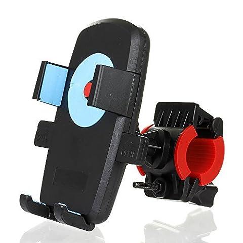 Fahrrad / Motorrad-Telefon-Halter, eForHome Universal-Fahrrad-Radfahren-Berg Motorradlenkerklemme für iPhone 6s Plus / Samsung Galaxy / Google Nexus Phone GPS, mit Ein-Knopf-Verschluss, 360-Grad-drehbarer, 2 * Gummibügel -Blue