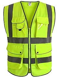 JKSafety Nueve bolsillos Nivel 2 Uniforme trabajo Chaleco con cremallera-Chaleco reflectante fluorescente-Chaleco