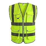 JKSafety 9 poches de classe 2'gilet de sécurité haute visibilité devant avec des bandes réfléchissantes, jaune répond aux normes EN ISO 20471 - Unisexe(Large)