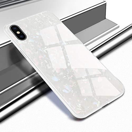 Caler Cover kompatibel mit iPhone XS/iPhone X Schutzhülle aus gehärtetem Glas 9H 【Kratzfest】 + Rahmen aus TPU Silikon 【Stoßstange】 3D Design Vogue Ultra Chic Lusso Bella Vogue-chic Mode