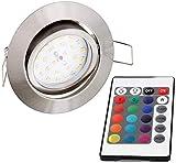 LED RGB Slim Spot Einbaustrahler 230V schwenkbar - mit Fernbedienung - Farbwechsel - 3-stufig dimmbar (eisen-gebürstet)