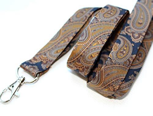 Schlüsselband Seide Stoff Unikat twill Schlüsselkette Paisley Muster 20 mm blau gold Gold-twill