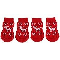 Qiuxiaoaa Juego de 4 Piezas Mascota Calcetines de Navidad Cat Shoes Anti-Dirty Anti-Scratch Pie Perros Cubre Zapatos Slip Knit Calcetines de Interior Productos para Mascotas Christmas Deer Pequeño