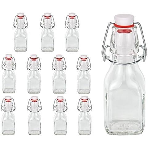 12 bottiglie di vetro da 125 ml, con chiusura a leva - Serie Swing, 0,125 L, da riempire