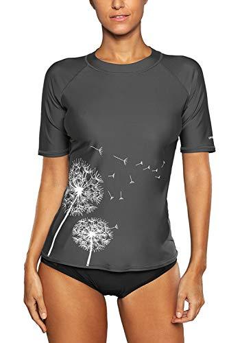 Vegatos Damen UV-Shirt kuarzarm Rash Guard Spitze Sportlich Schwimmshirt UPF 50+ Badeshirt Grau L