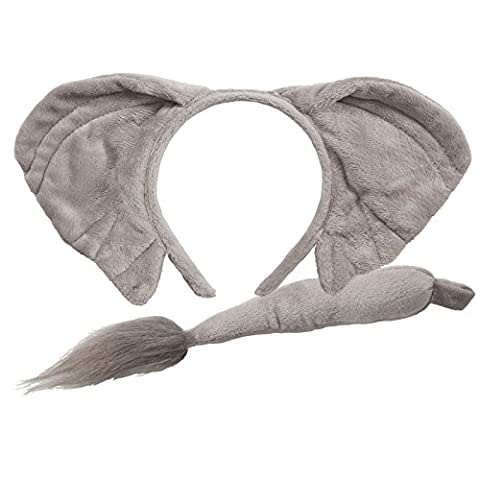 Childrens Animal Ears Headband & Tail Set Fancy Dress Party Accessoy - Elephant