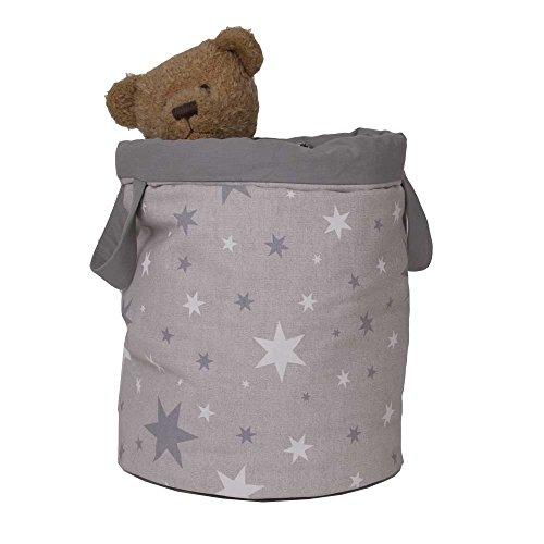 Belino 608200 - Bolsa juguetero acolchado, diseño estrellas, 30 x 40 cm, color gris