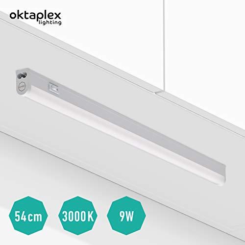 Oktaplex lighting LED Unterbauleuchte mit Schalter Riga 54 cm I Praktische Unterschrank-Beleuchtung Lichtröhre 9W 810lm I Helle Küchen-Beleuchtung Unterbau LED Leiste Warmweiß 3000K erweiterbar