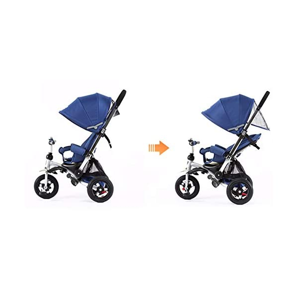 GSDZSY - 3 IN 1 Children Kids Tricycle, Seat Adjustable, Baby Can Sit Or Lie Flat, Push Rod Can Control The Direction, Rubber Wheel, 1-6 Years Old GSDZSY ❀ Material: High carbon steel + ABS + rubber wheel, suitable for children from 6 months to 6 years old, maximum load 30 kg ❀ Features: The push rod can be adjusted in height, the seat can be rotated 360, the backrest can be adjusted, the baby can sit or lie flat; the adjustable umbrella can be used for different weather conditions ❀ Performance: high carbon steel frame, strong and strong bearing capacity; rubber wheel suitable for all kinds of road conditions, good shock absorption, seat with breathable fabric, baby ride more comfortable 6