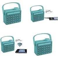 Haut-parleur Bluetooth portable avec microphone (Mini Boîte de Musique, radio FM, Kit mains libres pour téléphone portable, aux in, port USB, compatible pour tous les smartphones, turquoise)